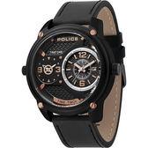 【台南 時代鐘錶 POLICE】義式潮流 金屬工業風格雙時區時尚腕錶 15268JSB-02 皮帶 黑 50mm