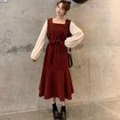 新款打底收腰顯瘦氣質復古紅色燈芯絨連身裙魚尾裙女秋冬長裙 韓國時尚週