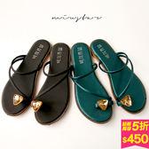 MIUSTAR 時尚水鑽套趾平底一字拖鞋(共2色,36-40)【NF3307T1】預購