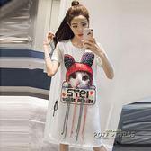短袖寬鬆卡通印花過膝開叉顯瘦韓版體恤裙