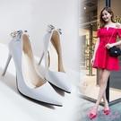 高跟鞋 蝴蝶結少女鞋子2020新款裸色尖頭淺口細跟高跟鞋漆皮水鑽工作單鞋