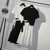 大碼女裝夏新款胖mm藏肉減齡洋氣遮肉連身裙胖妹妹腰粗遮肚子套裝 東京衣櫃