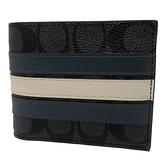 【COACH】C LOGO橫紋男款中性8卡短夾附活動證件夾(藍白橫紋)
