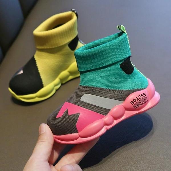 女童鞋子2019秋季新款寶寶兒童高幫襪子鞋男童軟底透氣運動鞋網鞋