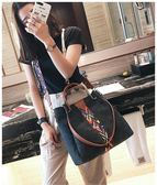 通勤百搭子母包女歐美時尚彩色肩帶水桶包側背斜背包