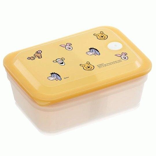 小禮堂 迪士尼 小熊維尼 日製 方形微波保鮮盒 塑膠保鮮盒 便當盒 450ml Ag+ (黃 大臉) 4973307-51912