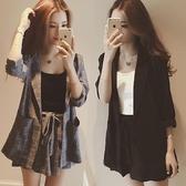 套裝春裝新款韓版很仙的西服套裝女洋氣格子西裝休閒時尚兩件套潮 可然精品
