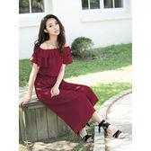 春夏↘7折[H2O]大圓領兩穿顯瘦連身大寬口褲裙洋裝-紅/綠/藍色 #8684008