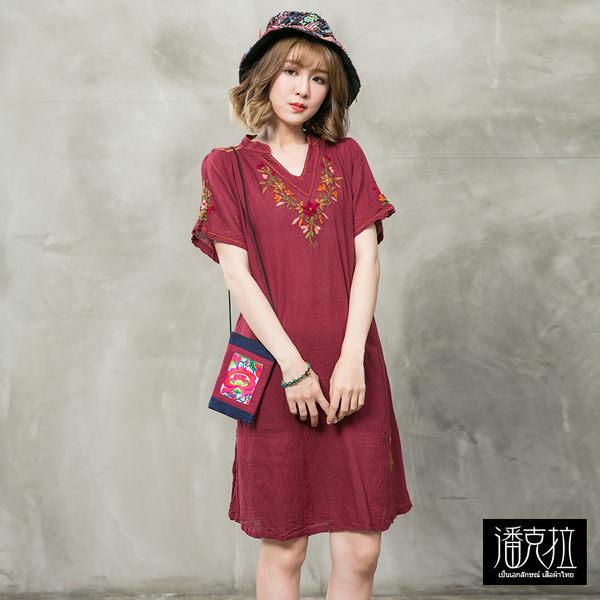 V領彩線繡花捲洋裝(紅色)-F【潘克拉】