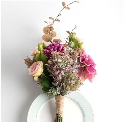 模擬花假花 套裝 花藝 客廳餐桌 裝飾花 花瓶捧花结婚花束 -bri01050