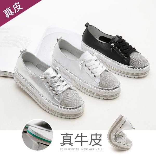厚底.免綁帶鑲鑽真皮厚底鞋(白、銀)-FM時尚美鞋-Collection.Popular