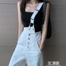 白色單肩牛仔背帶褲女韓版寬鬆直筒寬管褲時尚2020年夏季新款流行 3C優購