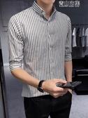 夏繫豎條紋7七分袖襯衫男士短袖修身韓版潮流發型師休閒中袖襯衣 青山小鋪