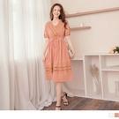 《DA8792》高含棉拼接蕾絲抽繩收腰兩件式洋裝.附背心 OrangeBear