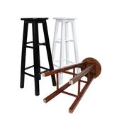 吧台凳實木高腳凳黑白復古吧椅酒巴凳北歐家用時尚餐桌圓凳梯凳WD  電購3C