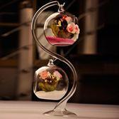 創意歐式懸掛透明玻璃花瓶擺件水培花器多肉苔蘚瓶微景觀美式仿真 歐韓時代