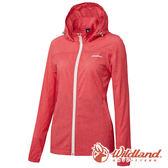 【wildland 荒野】女 可溶紗環保吸排透氣外套『珊瑚紅』0A61905 防風外套 連帽外套 防潑水 透氣