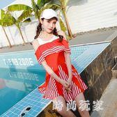 中大尺碼 泳衣保守新款連體泳衣女裙式平角游泳衣聚攏顯瘦遮肚泳裝 st2491『時尚玩家』