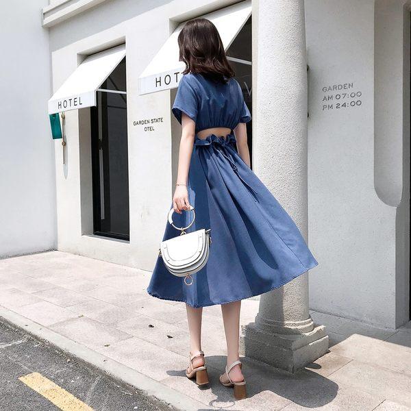 VK旗艦店 韓系素色顯瘦圓領系帶露腰長版短袖洋裝