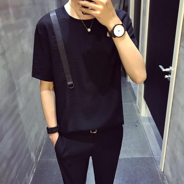 FINDSENSE H1 2018  夏季 新款 個性簡約 休閒 織帶 T恤半袖