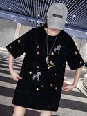 亮片閃閃網紅歐貨大版t恤女短袖2019夏新中長款寬鬆重工刺繡上衣 【爆款特賣】
