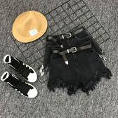 2018新款韓版毛邊不規則黑色牛仔短褲女夏季高腰顯瘦百搭短褲熱褲 挪威森林