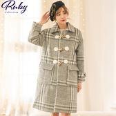 外套 牛角釦格紋毛呢長版大衣外套-Ruby s 露比午茶