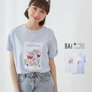 鬱金花插畫風圓領短袖T恤上衣-BAi白媽媽【310366】