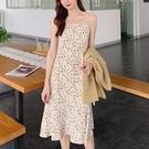 2021年春夏季新款韓版寬鬆打底吊帶小個子碎花連身裙女中長款裙子 快速出貨