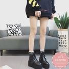 馬丁靴 側邊雙層皮帶扣拉鍊 短靴 裸靴 踝靴*Kwoomi-A94