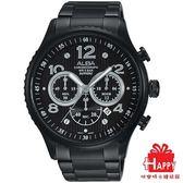日本ALBA雅柏錶 都會三眼計時腕錶 (AT3953X1)VD53-X236SD-黑