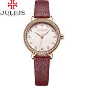 JULIUS 聚利時 翩翩花瓣舞鑽飾皮錶帶腕錶-魅力紅/28mm【JA-965D】