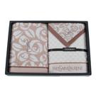 YSL經典玫瑰花紋方巾毛巾禮盒(咖啡色)989206-4