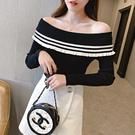VK精品服飾 韓國風一字領毛衣露肩性感長袖上衣