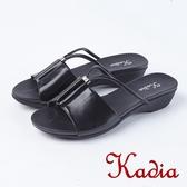 2018春夏新品 Kadia.休閒低調牛皮拖鞋(8105-90黑)