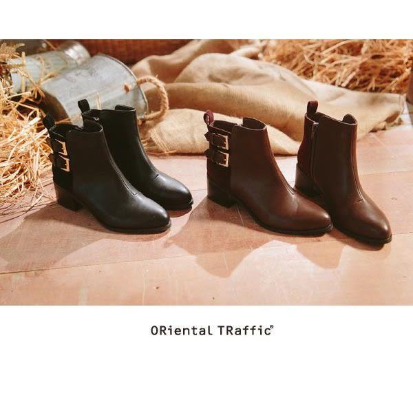 【ORiental TRaffic】摩登異材雙皮帶釦短靴-溫暖咖