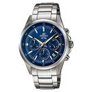 CASIO EDIFICE 三針三眼運動計時碼錶(EFR-527D-2A)-藍x47mm