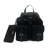 【台中米蘭站】全新品 PRADA 三角牌尼龍雙口袋後背包-附小袋(1BZ811-黑)