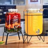 冷水壺 復古無鉛玻璃壺開關瓶果汁罐冷飲冷水壺大容量不耐熱水龍頭飲料桶 JD 萬聖節狂歡