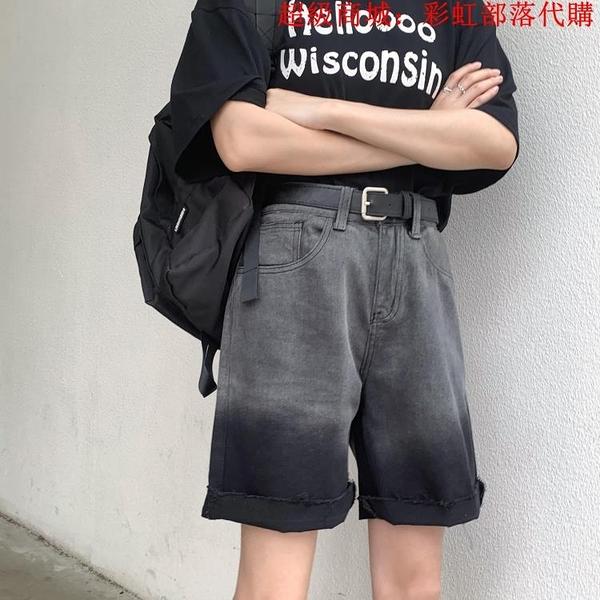 夏季大碼牛仔五分褲女胖妹妹mm寬松直筒短褲200斤高腰復古褲子潮 中大碼女裝 大尺碼女裝