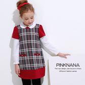 PINKNANA童裝 女童秋冬黑白格紋短袖洋裝32123