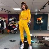 小心機兩件套秋裝女2018新款時尚連帽衛衣休閒收腰小腳褲運動套裝「時尚彩虹屋」