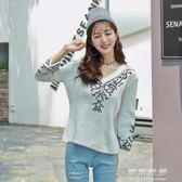 韓版冬季秋冬休閒寬鬆刺繡套頭毛衣女加厚針織衫女 可可鞋櫃