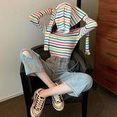 針織長袖 2019秋季新款韓版泫雅風彩虹條紋上衣網紅修身顯瘦針織長袖T恤女 免運 維多
