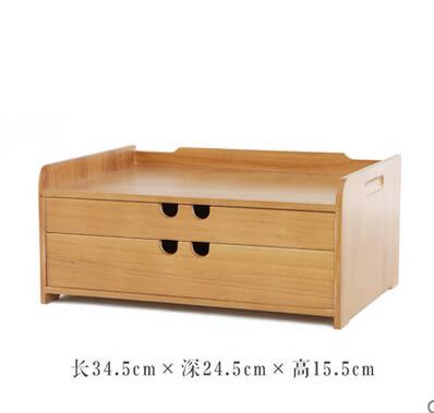 日式木質實木家用辦公桌面化妝品收納盒抽屜式首飾文具儲物箱