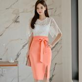 OL套裝兩件式女7044#夏裝韓版修身蕾絲上衣時尚開叉包臀裙套裝女NE49快時尚