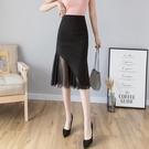 魚尾裙 半身裙女秋季2020高腰一步裙新款顯瘦黑色長裙包臀裙中長款 JX4018『優童屋』