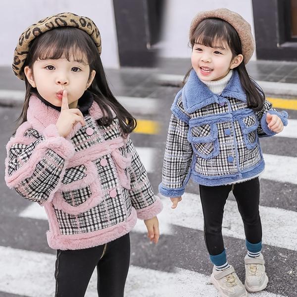 女寶寶呢子大衣 新款洋氣韓版兒童秋冬加厚外套 女寶寶格子毛呢外套潮