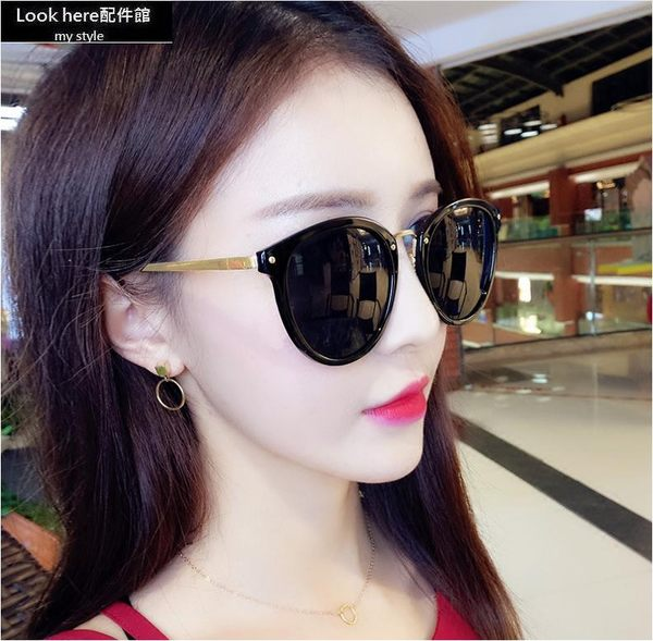 2018韓版新款小貓眼墨鏡 金屬小框太陽眼鏡 個性彩膜反光鏡 貓眼墨鏡 方框 圓框 貓眼 【B094】
