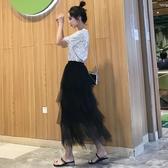 網紗裙黑色網紗蛋糕半身裙仙女秋冬新款中長款不規則半身紗裙垂感